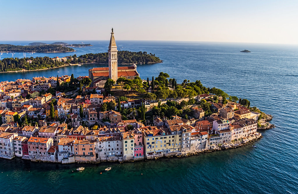 Aerial shoot of Rovinj,